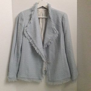 Walter blue fringe single button blazer